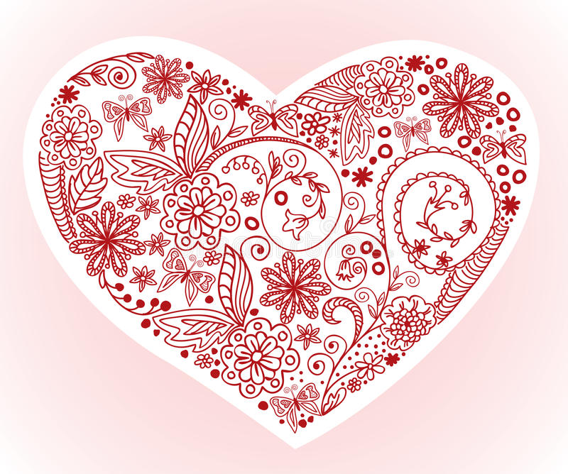 Heart on a pink background. Drawn by hand from the heart of beautiful floral ornament vector illustration