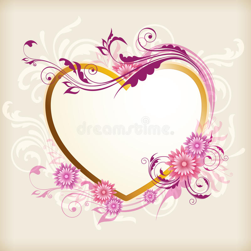 Heart and pink flowers vector illustration