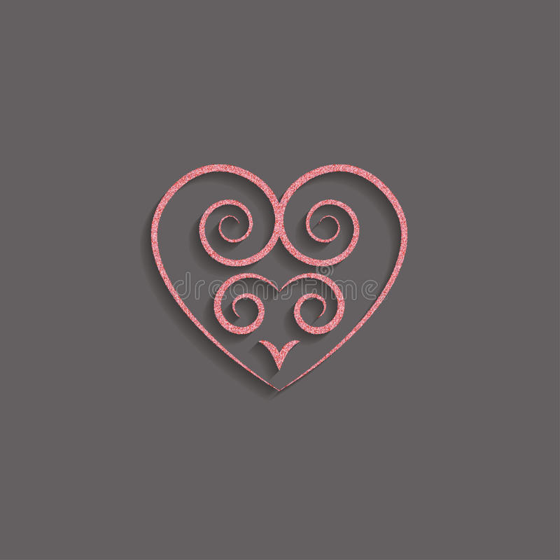 heart in pink gold with a decorative pattern icon. glitter logo, a symbol of love with a shadow on a black background. use in dec stock illustration