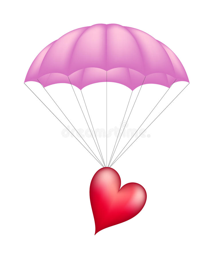 Download Heart at pink parachute stock vector. Illustration of gift - 23738199