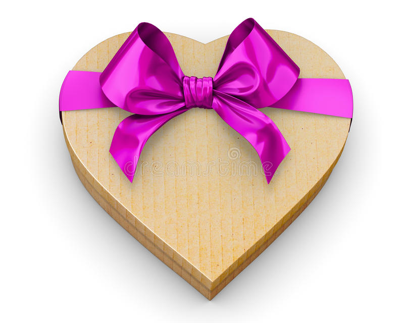 Heart. Pink heart shape gift box for valentines day or love presents design top view, 3d rendering vector illustration