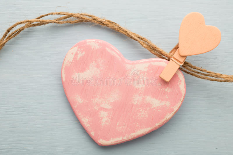 Heart. Pink heart on the wooden background. Provencal still royalty free stock photos