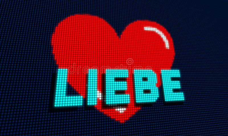 Heart pixel love liebe. Heart shape with liebe love in german in LED pixel screen 3D illustration royalty free illustration