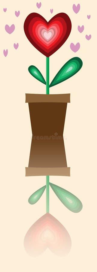 Heart plant in the flowerpot stock illustration