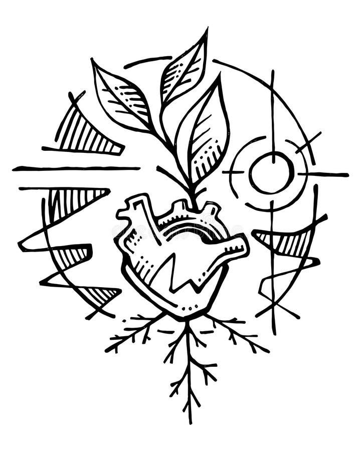 Heart and plant illustration vector illustration