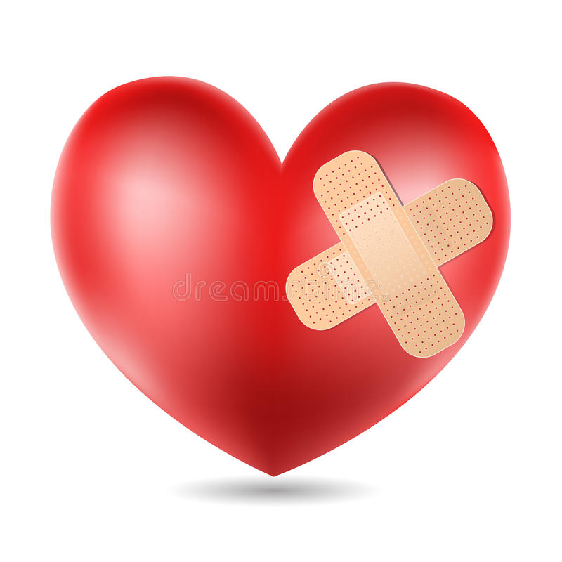 Heart with plaster stock illustration