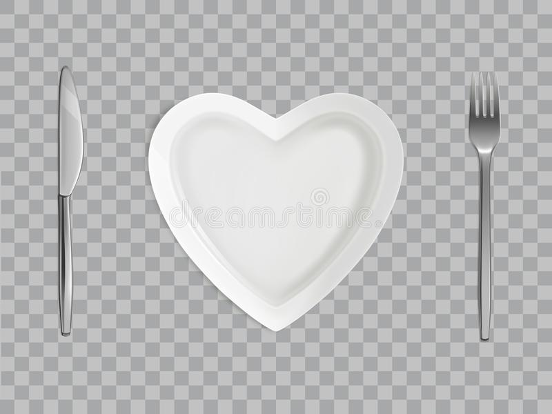 Heart plate, fork and knife, empty table setting stock photo