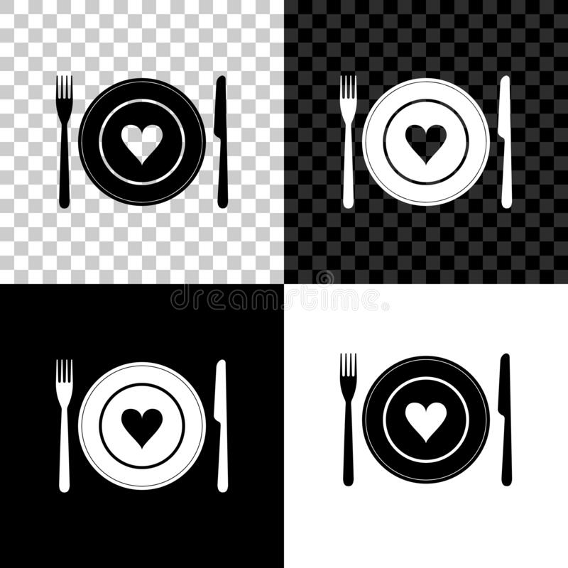 Realistic Knife In The Heart Drawing: Vector Plate In Shape Of Heart, Knife, Fork Stock Vector