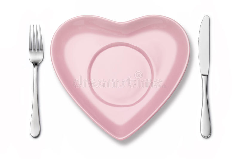 Heart Plate Fork Knife Setting Royalty Free Stock Images