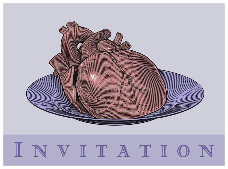 Heart on a plate (Invitation card) vector illustration