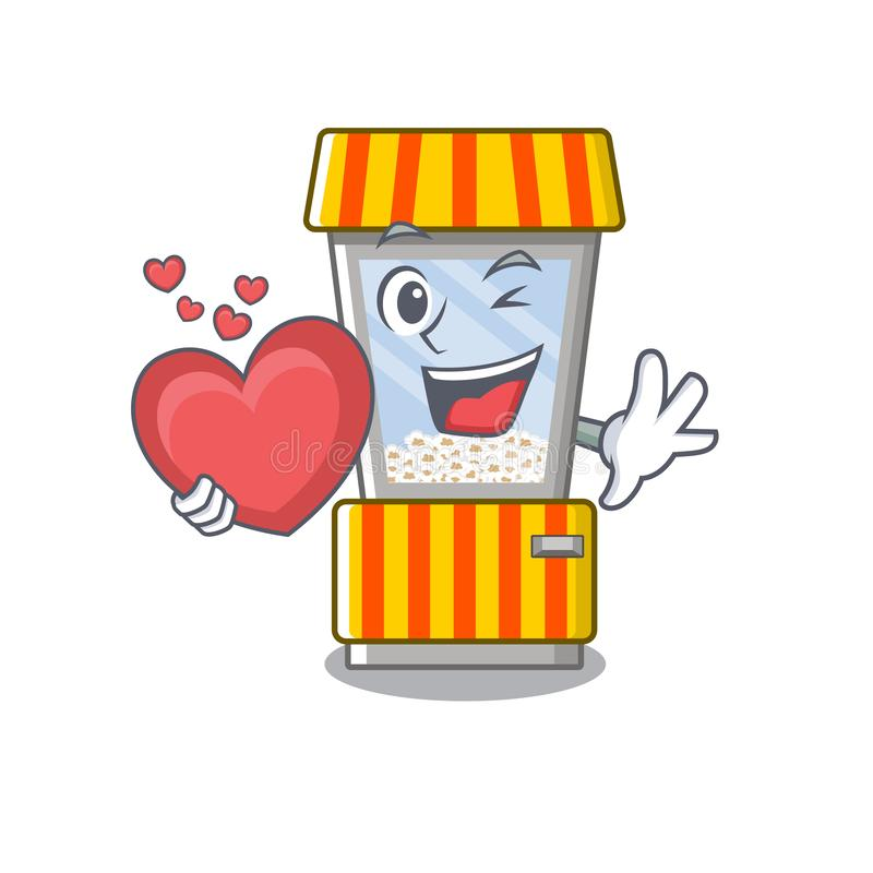 With heart popcorn vending machine is formed cartoon. Illustration vector royalty free illustration