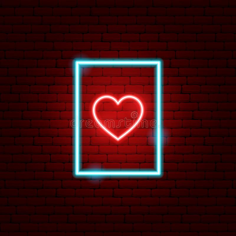 Heart Postcard Neon Sign. Vector Illustration of Love Promotion royalty free illustration