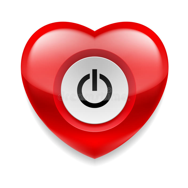 Heart with powe button royalty free illustration
