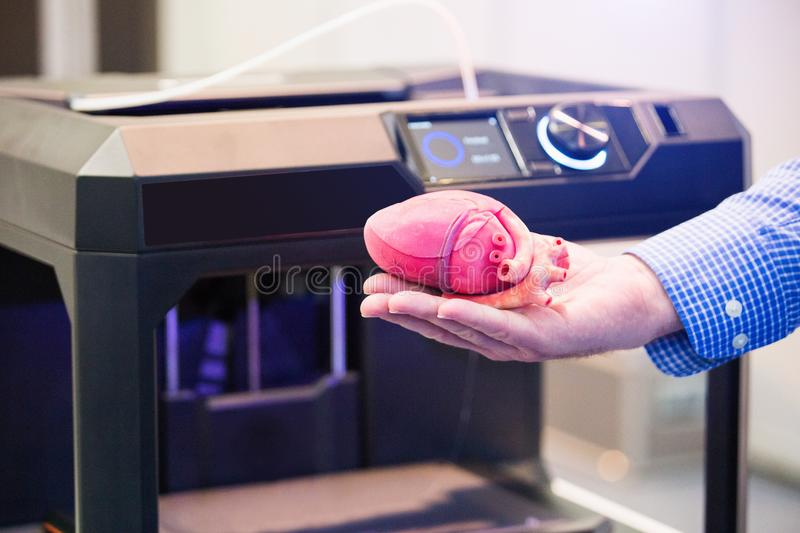 The heart printed on a 3d printer stock image