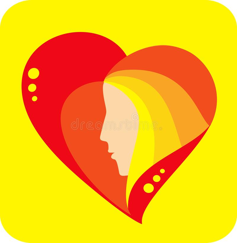 Heart with profile royalty free stock image