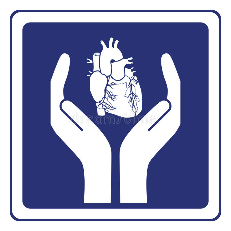 Heart protection sign stock illustration