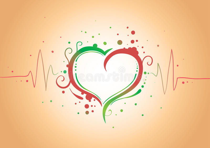 Heart with pulse. Red and green pulsing heart on yellow background (AI8 with gradient vector illustration