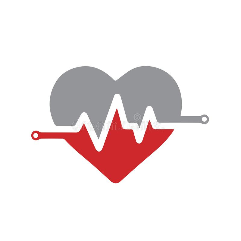 Heart pulse abstract logo vector template stock images