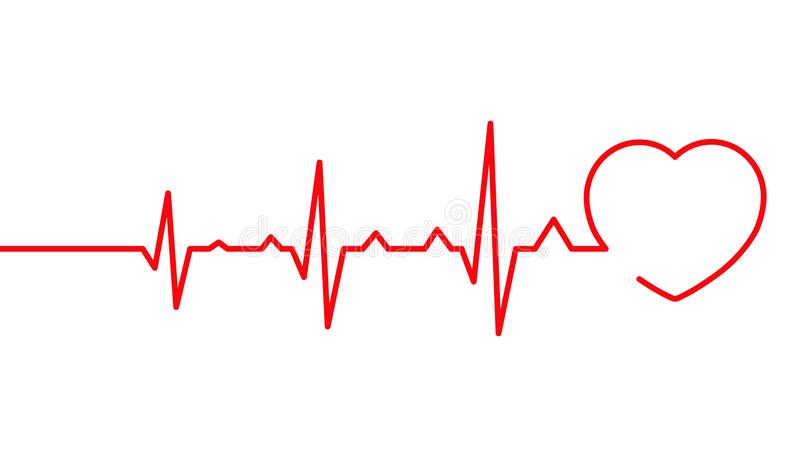 Heart pulse, Cardiogram line vector illustration, Heartbeat. Heart pulse, Cardiogram line vector illustration isolated on white background, Heartbeat stock illustration