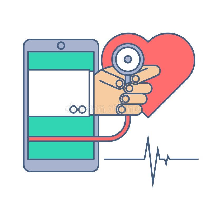 Heart pulse examination by phone. Telemedicine and telehealth. Heart pulse examination by phone. Telemedicine and telehealth flat line concept illustration royalty free illustration