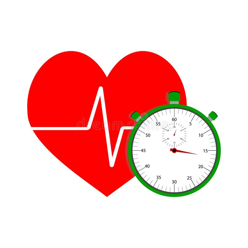 Heart pulse icon. Heart and stopwatch. vector cardio training with countdown, measure beat chronometer, physical healthcare illustration vector illustration