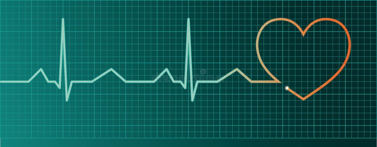 Heart pulse monitor. With red heart shape vector illustration