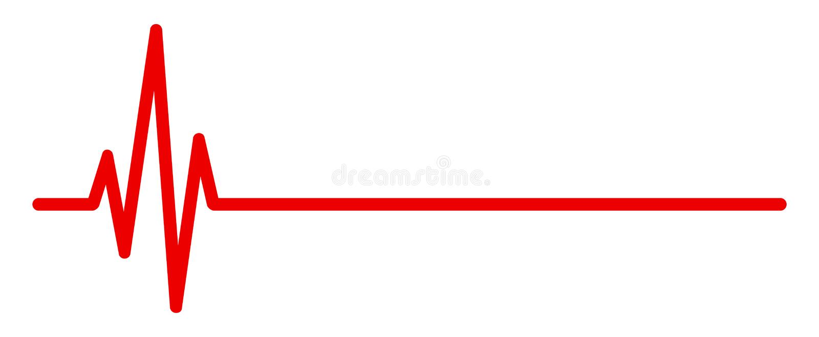 Heart pulse, one line, cardiogram sign, heartbeat - vector royalty free illustration