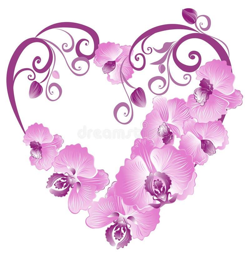 Heart from purple orchid. Vector illustration stock illustration