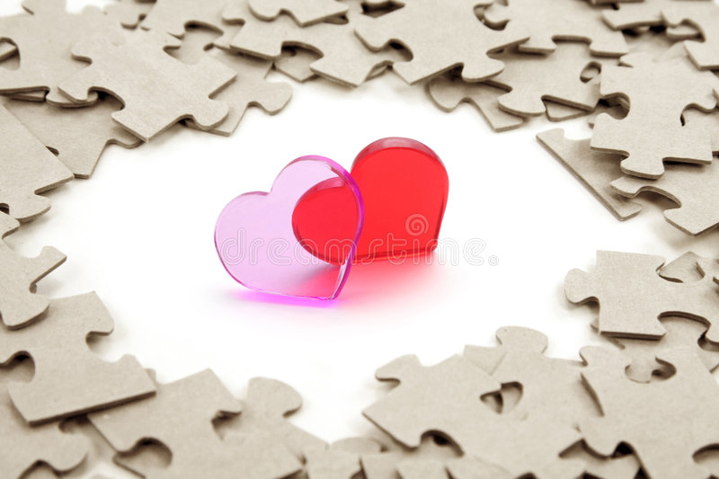 Heart and puzzle royalty free stock photography