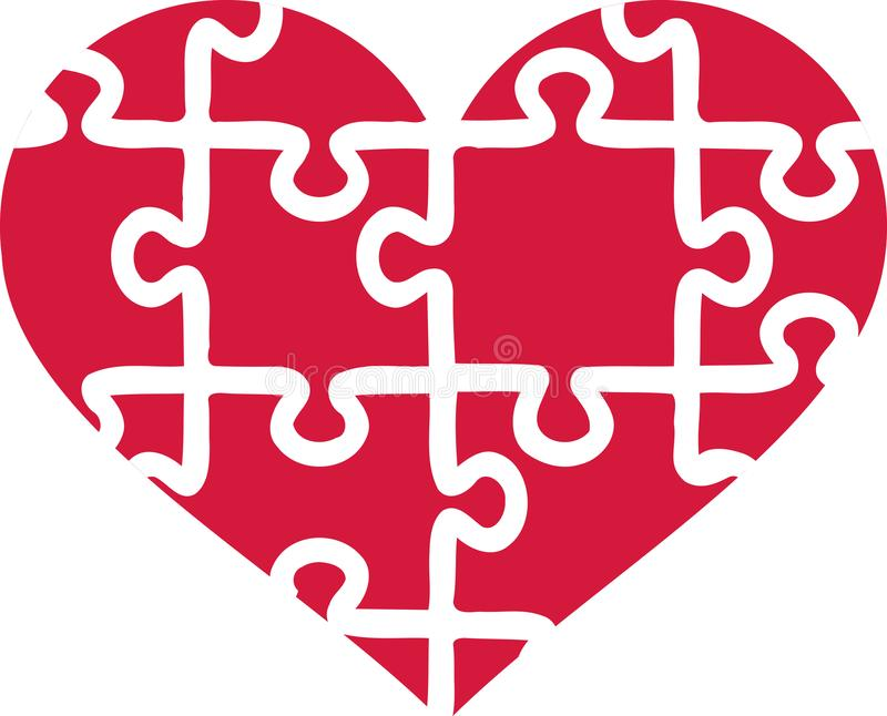 Heart of puzzle pieces royalty free illustration