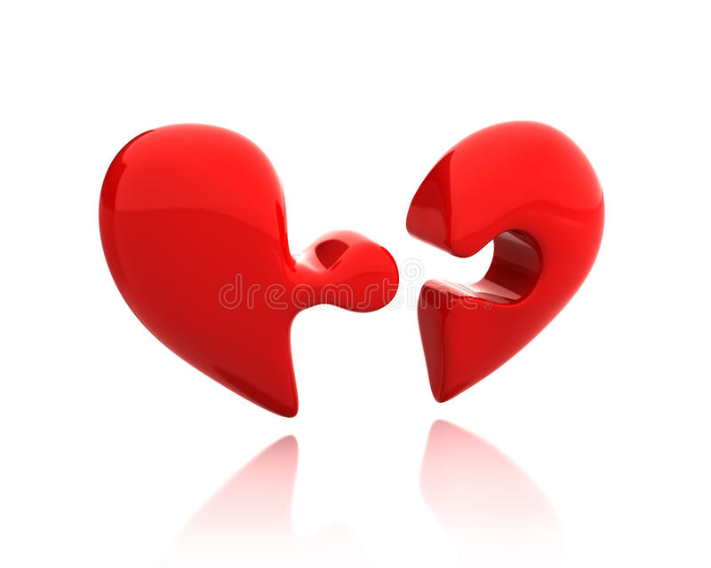 Heart Puzzle From Two Parts Broken Down Stock Photography