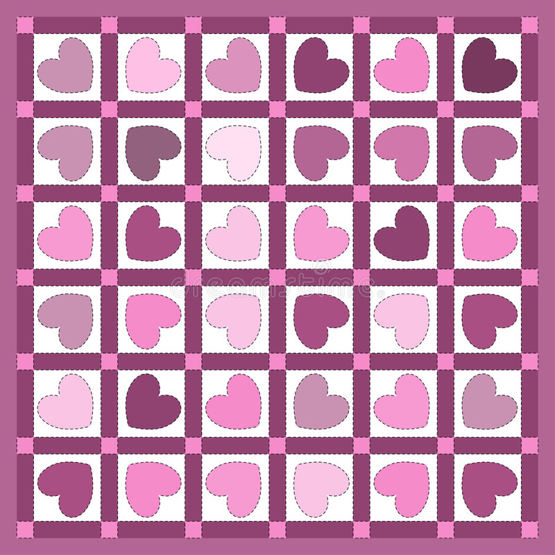 Heart Quilt. Illustration quilt series--pink heart quilt with sashing and border royalty free illustration