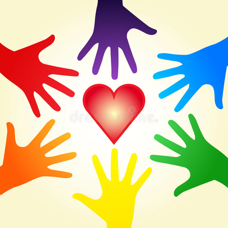 Heart and rainbow hands. Vector red bright heart symbol with rainbow colorful hands around on sand background. Illustration may symbolizing a diverse community