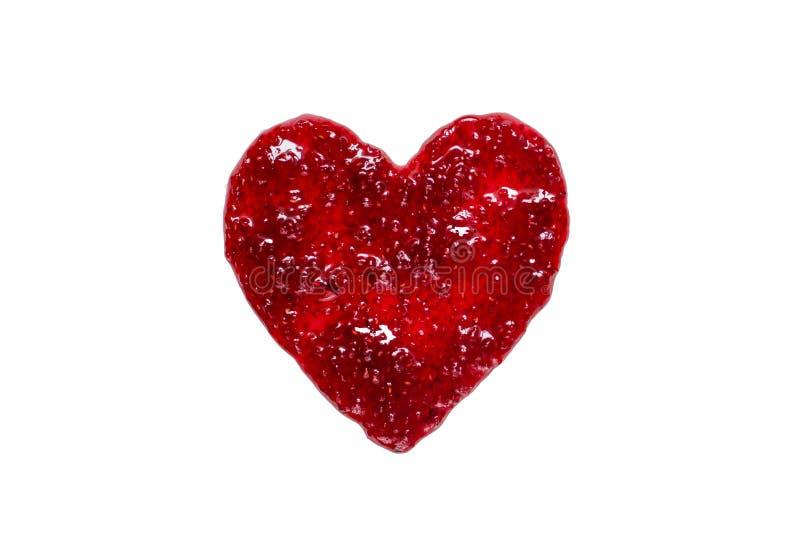 Heart from raspberry jam royalty free stock photo