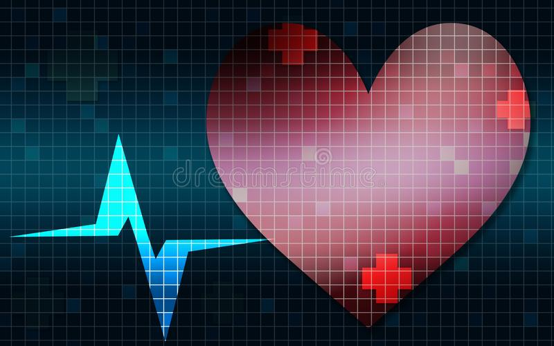 Heart rate frequency graphic. 3D rendering royalty free illustration