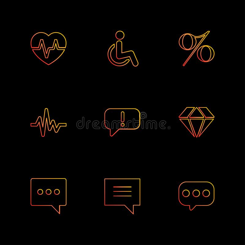 Heart ,rate , handicap , percentage , ecg , message , diamond ,. Message , chat, icon, vector, design, flat, collection, style, creative, icons vector illustration