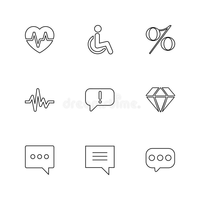 Heart ,rate , handicap , percentage , ecg , message , diamond ,. Message , chat, icon, vector, design, flat, collection, style, creative, icons - This Vector royalty free illustration