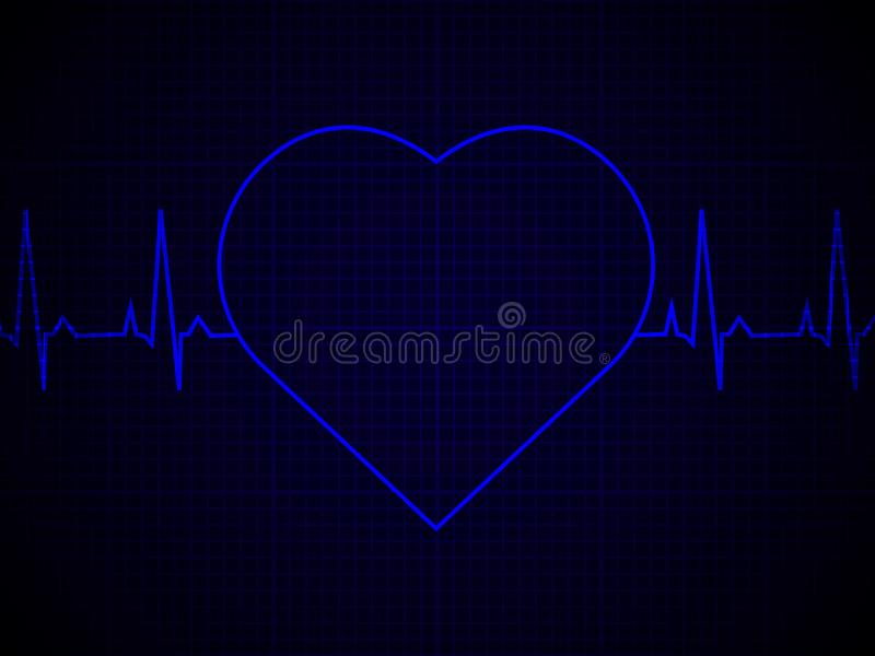 Heart rate, heartbeat, neon line, on blue graphic background. vector illustration