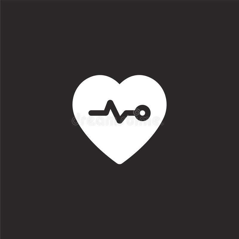heart rate icon. Filled heart rate icon for website design and mobile, app development. heart rate icon from filled wellness stock illustration