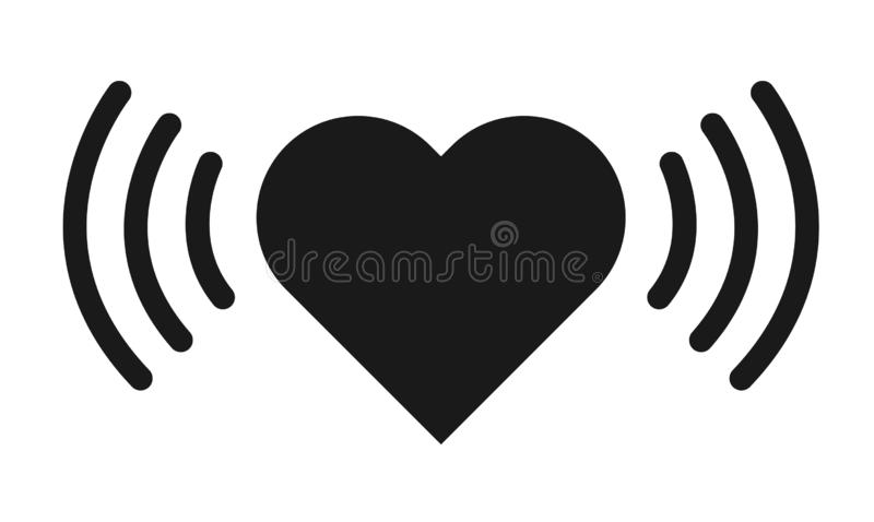 Heart rate icon isolated on white background. Shape design vector.  stock illustration