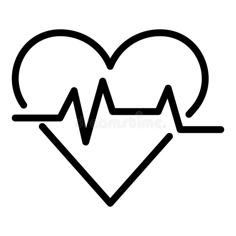 Heart rate icon, outline style. Heart rate icon. Outline heart rate vector icon for web design isolated on white background stock illustration