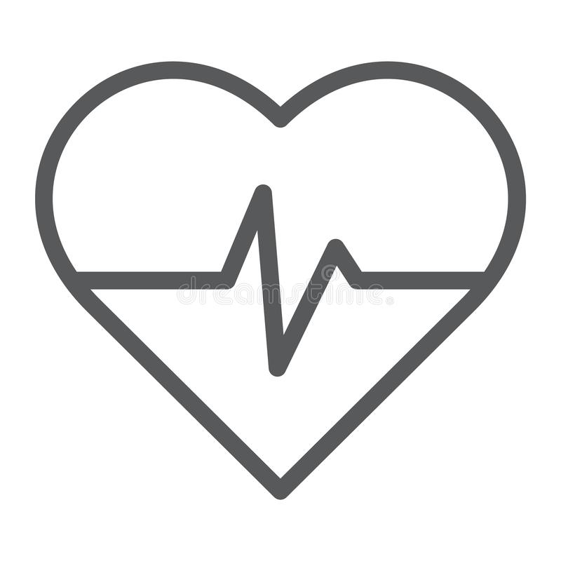 Heart rate line icon, medical and pulse, heartbeat sign, vector graphics, a linear pattern on a white background. stock illustration