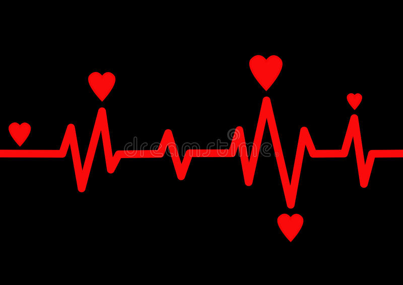 Heart Rate Monitor. On Black vector illustration