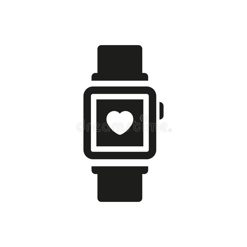 Heart rate monitor vector icon. On white background royalty free illustration