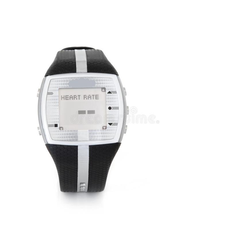 Heart Rate Monitor Watch. Heart rate monitor sensor watch over white background with copy space stock photo