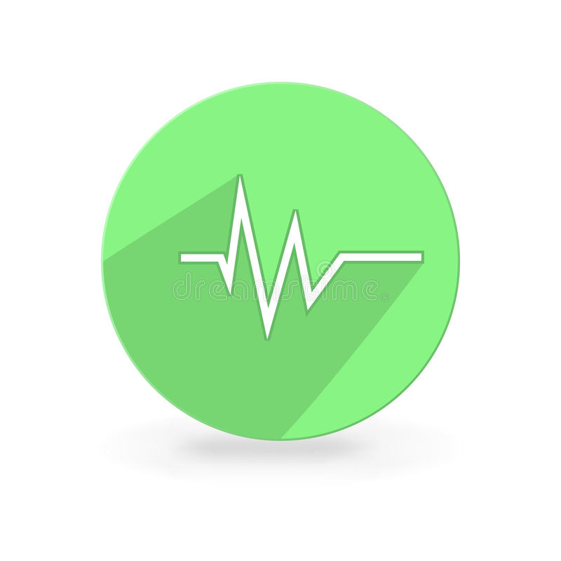 Heart rate. Pulse heart rate white icon in flat style royalty free illustration