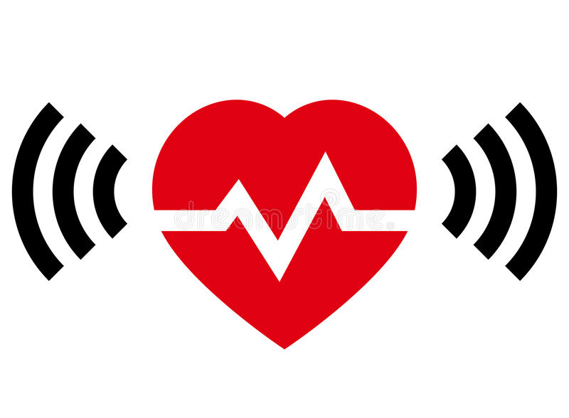 Heart rate with radio signal vector illustration