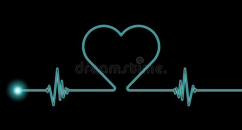 Heart rate rhythm. Blue heart rate rhythm on black background stock photography