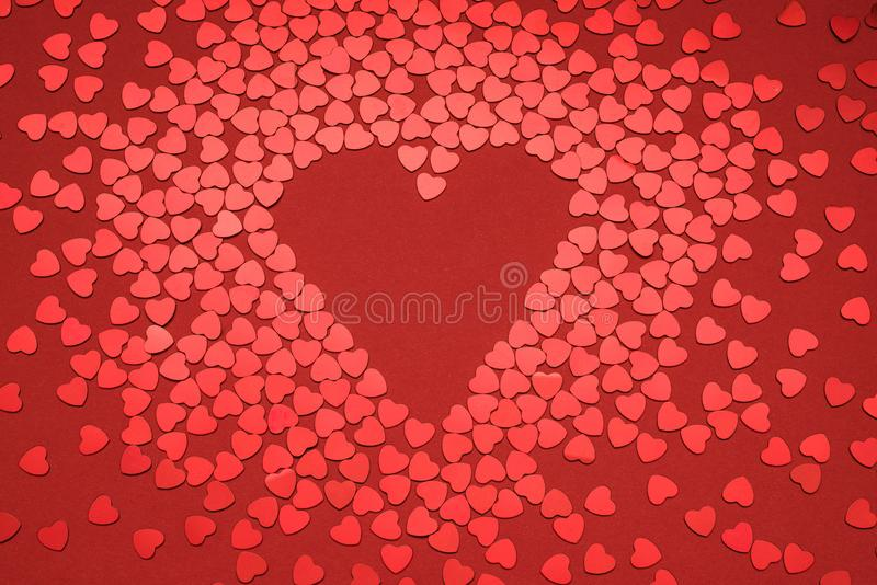 Heart on red background. Heart-shaped greeting card on a red background stock photos