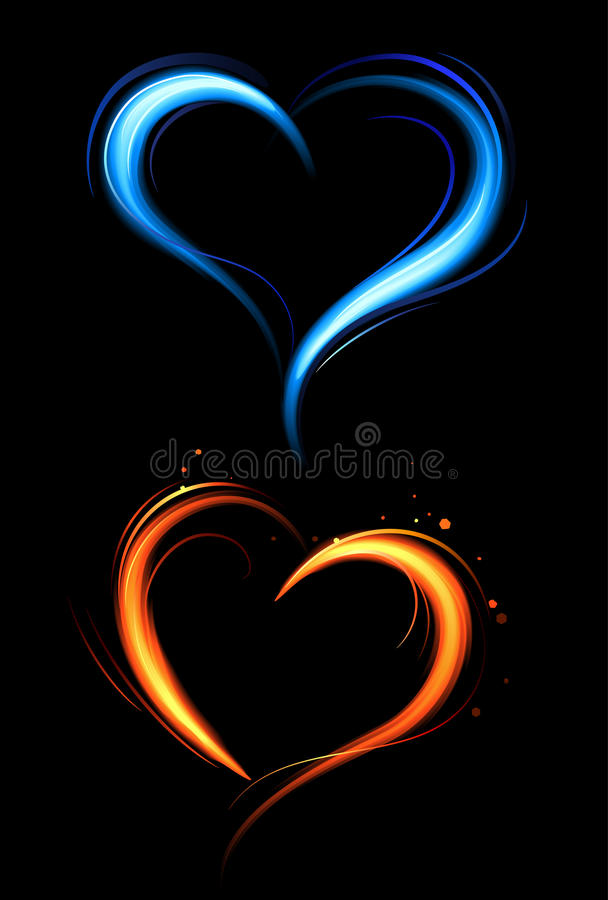 Download Heart From Red And Blue Fire Royalty Free Stock Images - Image: 26662089